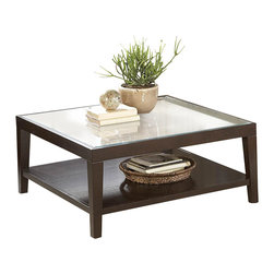 Homelegance - Homelegance Vincent Square Wood Cocktail Table with Glass Overlay - Glass overlays the intricate acacia wood block staggered pattern of the Vincent collection. Each intricate pattern surrounds a center contrasting block. These unique tables feature display shelves and a modern two-toned finish.