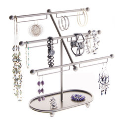 Earring Holder Organizer - Isabel Jewelry Tree - The Isabel Jewelry Tree is a hoop and long dangle earring holder organizer that was specifically designed for large and extra large hoop earrings, long hook chandelier dangle earrings, spring back and omega back earrings, but also displays bracelets, bangles and watches.
