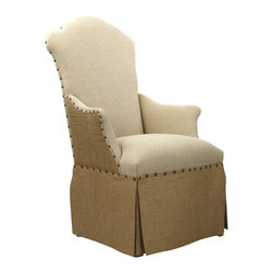 Zentique, Inc. - Skirted Arm Chair - Looking for some 'Downton Abbey'-inspired decor? This two-toned skirted armchair suits the style of the early 20th century and brings back the look for an early 21st century crowd. Made in the USA of linen, brass and burlap, it will play a feature role in your living room, library or den.