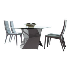 Rossetto - Sapphire Dining Set in Grey - Features: