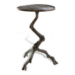 Kathy Kuo Home - Steamboat Tree Branch Modern Rustic Side Table - Designed with a modern rustic flair, this tree branch side table is finished in antique verdigris, carefully finished to mimic the organic variations in nature. Cast iron, hand sculpted, a wonderfully crafted piece.