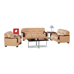 VIG Furniture - 2109 Beige Top Grain Leather Sofa Set With Walnut Finished Wood Arms - The 2109 sofa set will add a modern touch to any decor while having you relax in comfort. This sofa set comes upholstered in a beautiful beige top grain leather in the front where your body touches. Carefully chosen match material is used on the back and sides where contact is minimal. High density foam is placed within the cushions for added comfort. Each piece comes accented with walnut finished wooden arms and feet that add to the overall look. The sofa set includes one sofa, loveseat, and chair only.