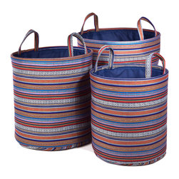 """Traders and Company - Colorful Nested Round Fabric Hampers, Set of 3 - Lg = 17""""Dx18.5""""H - Glacier - Wake up any room with our colorful nested fabric hampers and baskets. Studry metal frame maintains the opening shape, and bright geometric patterns add a flash of color. Great for everyday storage around the home or in the kids room. Other patterns and shapes sold separately. Dimensions: L - 17""""D x 18.5""""H, M - 15""""D x 16""""H, S - 13""""D x 15""""H"""