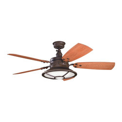 """DECORATIVE FANS - DECORATIVE FANS Harbour  Walk Patio 52""""  Transitional Indoor/Outdoor Ceiling Fan - A warm Tannery Bronze Powder Coat finish draws attention to the industrial details of this Kichler Lighting outdoor ceiling fan. From the Harbour Walk Collection, it features reversible medium walnut/cherry fan blades and a beautiful Fresnel lens glass."""