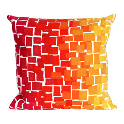 """Trans-Ocean - 20""""x20"""" Visions II Ombre Tile Warm Pillow - The highly detailed painterly effect is achieved by Liora Mannes patented Lamontage process which combines hand crafted art with cutting edge technology.These pillows are made with 100% polyester microfiber for an extra soft hand, and a 100% Polyester Insert.Liora Manne's pillows are suitable for Indoors or Outdoors, are antimicrobial, have a removable cover with a zipper closure for easy-care, and are handwashable. Made in USA."""
