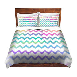 DiaNoche Designs - Duvet Cover Microfiber by Organic Saturation - Bubble Ikat Chevron - DiaNoche Designs works with artists from around the world to bring unique, artistic products to decorate all aspects of your home.  Super lightweight and extremely soft Premium Microfiber Duvet Cover (only) in sizes Twin, Queen, King.  Shams NOT included.  This duvet is designed to wash upon arrival for maximum softness.   Each duvet starts by looming the fabric and cutting to the size ordered.  The Image is printed and your Duvet Cover is meticulously sewn together with ties in each corner and a hidden zip closure.  All in the USA!!  Poly microfiber top and underside.  Dye Sublimation printing permanently adheres the ink to the material for long life and durability.  Machine Washable cold with light detergent and dry on low.  Product may vary slightly from image.  Shams not included.