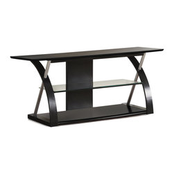 Adarn Inc. - Modern Futuristic Entertainment Center TV Stand Console Media Glass Shelf, Black - A futuristic design of modern art form, This entertainment center comes in two color variations. This extraordinary piece features three structures framed in curved black support giving it a dynamic presence. The main structure holding the TV and primary entertainment accessories and two structures with four tempered glass shelves. This collection is a superior design of furniture architecture at its best.