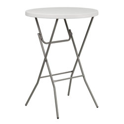"""Flash Furniture - 32"""" Round Granite White Plastic Bar Height Folding Table - This Bar Height Folding Table can be used in banquet halls, hotels, or in the home. This table is a great solution for temporary seating for gatherings. Flash Furniture's 32 in.  Round Folding Table features a durable stain resistant blow molded top and sturdy frame. The blow molded top requires low maintenance and cleans easily. The table's legs lock in place in a SNAP with the leg locking system for easy set-ups."""