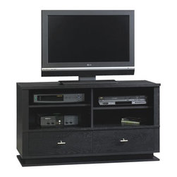 Sauder - Sauder Meretto Panel TV Stand in Ebony Ash - Sauder - TV Stands - 402414 - Two adjustable shelves hold audio/video equipment. Two drawers with metal runners and safety stops feature patented T-lock assembly system. Quick and easy assembly with patented slide-on moldings. Ebony Ash finish.