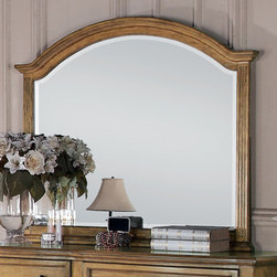 Coaster - Emily Mirror in Light Oak Finish - Crafted from pine solids and oak veneers. The bevelled mirror framed in light oak features an arc shape like the headboard. Enjoy the calming look of this piece while you relax in bed with a morning cup of coffee.