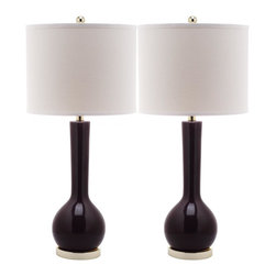 Safavieh - Mae Long Neck Ceramic Table Lamp (Set Of 2) LIT4091 - Dark Purple - Lend an air of gracious sophistication to your home with the Alden Faceted Crystal table lamp by Safavieh. Crafted of solid crystal this stately set of two lamps is faceted in the style of fine crystal vases and bowls. A study in contrasts, Aldens classic traditional base is updated with a rectangular white linen shade.