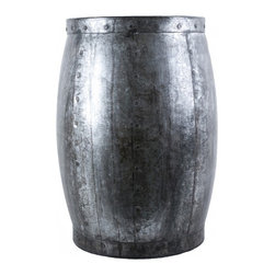 Barrique Stool-Table - This all-metal stool doubles as a table and looks great beside a chair or sofa. Vintage-inspired.