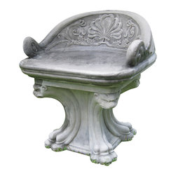 R.T. Facts - Pair of Neo-Classical Tub Garden Chairs - Fit for a Grecian garden or a Roman retreat, this pair of exquisite chairs will have you and a loyal confidant sitting in stately style in your own outdoor court. They're the epitome of the royal treatment.