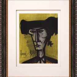 None - Bernard Buffet 'Torero' Original Lithograph - This gorgeous original lithograph by the famed French artist Bernard Buffet is printed by Mourlot and features vibrant colors on an orange background. The dark wood frame complements the artwork,and the piece will suit any home decor.