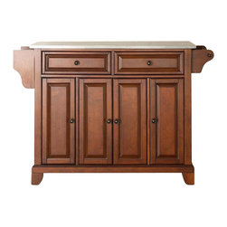 Crosley Furniture - Newport Stainless Steel Top Kitchen Island in - Beautiful Raised Panel Doors. Antique Brass Finish Hardware. Total of Three Adjustable Shelves Inside Cabinet. Spice Rack with Towel Bar. Towel Bar / Paper Towel Holder. Stainless Steel Top. Solid Hardwood & Veneer Construction. Assembly Required. 36 in. H x 52 in. W x 18 in. D (105.5 lbs.)Constructed of solid hardwood and wood veneers, this kitchen island is designed for longevity. The beautiful raised panel doors and drawer fronts provide the ultimate in style to dress up your kitchen. Two deep drawers are great for anything from utensils to storage containers. Behind the four doors, you will find adjustable shelves and an abundance of storage space for things that you prefer to be out of sight. Style, function, and quality make this mobile kitchen cart a wise addition to your home.