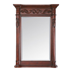 """Lamps Plus - Traditional Avanity Provence 33"""" High Antique Cherry Wall Mirror - The solid wood frame of this traditional wall mirror has a deep rich antique cherry finish. Elegant carved scrolls adorn the top and the side columns. A generous bevel gives the mirror glass an additional bit of elegant interest to this exquisite design from Avanity. Carved traditional wood wall mirror. Solid birch wood frame. Antique cherry finish. Beveled mirror glass. Easy-hang wood cleat on back. 33"""" high 24"""" wide 3 1/4"""" deep. Glass only is 23 1/4"""" high 15 3/4"""" wide. Hang weight is 28 lbs.  Carved traditional wood wall mirror.   Solid birch wood frame.   Antique cherry finish.   Beveled mirror glass.   Easy-hang wood cleat on back.   33"""" high 24"""" wide 3 1/4"""" deep.   Glass only is 23 1/4"""" high 15 3/4"""" wide.   Hang weight is 28 lbs."""