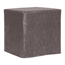 Howard Elliott - Glam Zinc No Tip Block Ottoman - Optional tray not included. The No-Tip Block is constructed with a dense light-weight foam and then topped off by a soft, high quality foam making it sturdy yet comfortable. Its unique design allows weight to be distributed evenly keeping it from tipping like most foam ottomans. Glam Zinc, a linen-like texture in a soothing graphite color with a metallic finish. 17 in. x 17 in. x 17 in.