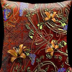 Lama Kasso - Como Gardens Antique Red with Metallic Orange Flowers 18 x 18 Satin Pillow - -Satin Lama Kasso - 104