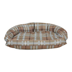 Carolina Pet Company - Brutus Tuff Semi Circle Lounger, Blue/Brown Plaid, 41 X 26 X 11 - Super tough for pets that are rough on their beds.  1200D Polyester fabric makes this the perfect bed for pets that like to scratch or chew.  Easy off zippered cover for easy care.  Machine washable.  100% recycled high loft Polyester fill keeps pets off cold floors for added comfort and relief on hips, joints and pressure points.