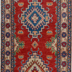 "ALRUG - Handmade Red Oriental Kazak Runner 2' 6"" x 12' 4"" (ft) - This Afghan Kazak design rug is hand-knotted with Wool on Cotton."