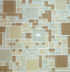 contemporary bathroom tile Mocha Cream Magic micro versailles pattern glass mosaic tile