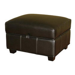 Baxton Studio - Black Bi-cast Leather Storage Ottoman - Complete your living room decor with this brown leather storage ottoman. Perfect for adding a bit of comfort to your seating area while also giving you extra storage, this ottoman is traditionally styled with bi-cast leather and a sturdy lid.