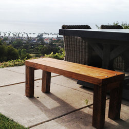 """4 Exotic Benches - 4 Exotic benches built with reclaimed old oak wood in South Africa. Available as one set (4 benches) or broken up into 2 benches per order. Heavy, sturdy and very durable.  Finished in a soft lacquer for protection - can be varnished by request. Each bench measures L42"""" x W14.5"""" x H17"""""""