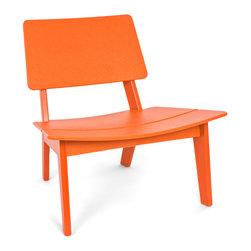 Loll Designs - Lago Chair, Sunset Orange - Lago is inspired by chairs from Hans Wegner. The exaggerated width allows you to make more adjustments while lounging for extended amounts of time, and there is room for two if you want to get cozy. A steep angled seat and back helps set a relaxed but comfortable posture and both are thoughtfully curved for added comfort without the need for a cushion. Simple notches in the seat hold a thin stemmed wine glass when a side table is out of reach. The Lago ships in two parts so assembly on this chair is as simple as it gets.
