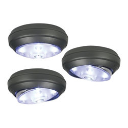 "Lamps Plus - Rite Lite 3-Pack Battery Powered LED Puck Lights - Wireless LED lights are perfect for accenting any room. This three pack of battery powered lights is ideal for under cabinet lighting adding lights to work benches home offices and more. Each unit will run an average of 50 hours on three AAA batteries (not included). Grey finish with a frosted light head. Super bright long life LED lights. With a one-touch on-off-dimmer functionality. Light head swivels and pivots for ideal light positioning. Also makes a great emergency back-up light. Each light includes five LED bulbs (total .35 watts). 30 lumens. 6500K color temperature. Each is 3"" wide 1 1/2"" high.  Battery powered LED puck lights.  Set of three LED lights.  Grey finish.  Frosted lens cover.  Each light has five LED bulbs (total .35 watts).   30 lumens total.   Comparable to a 7 watt incandescent bulb.  6500K color temperature.   Each lasts 50 hours off just three AAA batteries (not included)  Each light is 3"" wide and 1 1/2"" high."