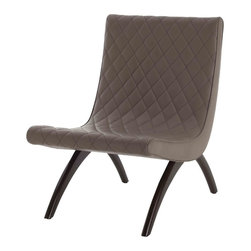 Danforth Dove Quilted Top Grain/Wood Chair - Curvaceous Swedish lines in the Danforth Dove Chair ease sharp angles of decor, bringing a pleasing visual suppleness that creates a look of comfort in your transitional study or minimalist lounge.  The studied welcome of the design comes from the diamond-quilted top-grain leather in neutral dove grey that pads the seat surface.  A pair of curved legs finished in classic mahogany support the inviting side chair's simple arching outlines.