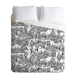 DENY Designs - Sharon Turner Walking Doodle Toile De Jouy Queen Duvet Cover - Looking for a bed cover with some quirky personality? This imaginative cover offers a whimsical take on the toile tradition, with a retro-futuristic montage of robots and flying machines sketched out like a daydreamer's notepad doodle. In simple black and white, it's understated, but gives your room a fun and unexpected twist.