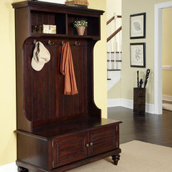 None - Bermuda Dark Espresso Hall Stand - Add a stylish touch to your home decor with this hall stand. A deep espresso finish,spacious drawers and decorative coat hooks finish this stand.