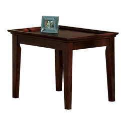 Steve Silver - Clemens End Table - The Clemens Occasional collection is simple and functional. The end table has a rich cherry finish and a large tray top design. This table functions as a traditional end table or as a side table to display decorative items.