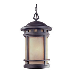 Designers Fountain - Designers Fountain Sedona Traditional Outdoor Hanging Light X-BRO-MA-4932 - Tranquil and serene, the stunning Sedona Traditional Outdoor hanging light is an 11 inch cast hanging lantern that is featured in an Oil Rubbed Bronze and showcases Amber Glass. The harmony and balance found in this Mission collection fixture invokes a natural simplicity and grace. Buying this fixture for your outdoor landscape calms and settles your living area.