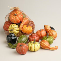 Thanksgiving Gourds - I'll need bags and bags of these mini gourds to add to my fall porch. The good thing about using faux is that I will be able to reuse them for several years.