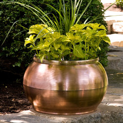 Copper Bowl Planter with Decorative Band - The simple round shape of this outdoor copper planter is accented with a decorative brass band with copper rivets. a smaller size that's perfect for an herb garden, and a larger size for outdoor container gardening.