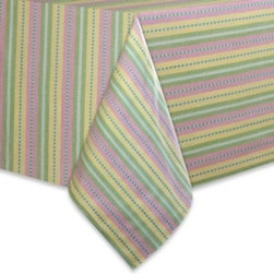 Colordrift Llc. - Garden Stripe Tablecloth - Dress your table in the warm, inviting colors of spring with the Garden Stripe tablecloth. Made of polyester-cotton fiber, this machine-washable tablecloth is ideal for everyday use in your kitchen and dining room.
