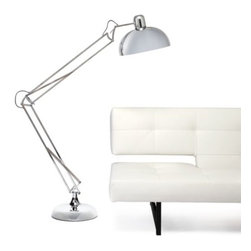 Z Gallerie - Spring Floor Lamp - The classic desk lamp silhouette has evolved to make an appearance as our full-fledged Spring Floor Lamp. In shiny silver chrome, the tight spring mechanism allows the lamp to assume innumerable positions for desired use. The dome shade holds up to a 75 watt bulb, and comes with a three-way CFL bulb. The lamp stands 75 inches tall with a 14 inch diameter shade and a sturdy 13 inch diameter stand.