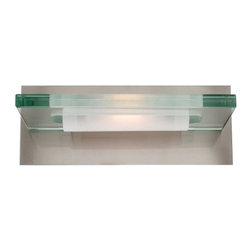 Access Lighting - Access Lighting 62091-BS/12C Phoebe Bathroom Light, Brushed Steel - Access Lighting 62091-BS/12C Phoebe Bathroom Light Brushed Steel Number of Lights: One Light, Finish: Brushed Steel, Glass: Clear, Light Bulb: (1)100w T3 R7S 78mm 120v Halogen This clear plate glass bath vanity features a Brushed Steel finish and a variety of light options. CETL listed for Damp Locations.Dimensions: 6.25″ x 12.75″ x 5″.   Weight: 6.6lbs.
