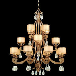 Corbett Lighting - Roma 16 Light Chandelier by Corbett Lighting - The Corbett Lighting Roma 16 Light Chandelier is a star icon of this century. The word 'splendid' is not an exaggeration for this fixture that will give your room an entire new look. The Roma 16 Light Chandelier features Cream Ice glass  shades, hand wrought iron body and Antique Roman Silver finish.Corbett Lighting has been creating and manufacturing beautiful lighting for more than 40 years. Their products clearly demonstrate Corbett's dedication to original design and superior craftsmanship, combined with the finest glassware, shades and natural material. Solid brass castings, Italian glass, hand-forged iron and hand-painted finishes are just a few of the quality materials used in Corbett Lighting fixtures.The Corbett Lighting Roma 16 Light Chandelier is available with the following:Included Features:  Sixteen Cream Ice glass shades.Hand wrought iron body.Antique Roman Silver finish.Crystals.UL Listed.72 Inch of chain.Lighting: Sixteen 60 Watt 120 Volt Candelabra Base Incandescent lamps (not included).Shipping:This item usually ships within 3-4 weeks.