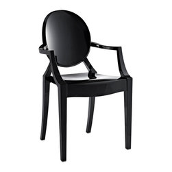 Modway - Modway EEI-121 Casper Dining Armchair in Black - Combine artistic endeavors into a unified vision of harmony and grace with the ethereal Casper Chair. Allow bursts of creative energy to reach every aspect of your contemporary living space as this masterpiece reinvents your surroundings. Surprisingly sturdy and durable, the Casper Chair is appropriate for any room or outdoor setting. Pure perception awaits, as shining moments of brilliance turn visual vacuums into new realms of transcendence.