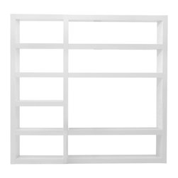 Tema Home - 9-Shelf Modular Wall System - 13 in. gap between shelves. Finished on front and back. Made from lacquer, MDF and honeycomb. High gloss white finish. Made in Portugal. Overall: 89 in. W x 13 in. D x 84 in. H (256 lbs.). Assembly InstructionsDenso stands for dense, a name that illustrates this shelving unit's formal characteristics. There are many ways to use it and it will work marvelously as a bookshelf or as a space divider.