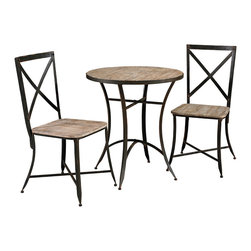 Powell - Powell Driftwood Round Metal and Wood Table with 2 Side Chairs - Round metal and wood table w/ 2 side chairs in weathered belongs to driftwood iron collection by Powell. Combining rustic and industrial, the driftwood iron table and chair set stand on sturdy metal legs, with small ball feet. The round metal and wood table, features an expansive weathered looking top. The two side chairs each have x-designed chair backs and weathered looking seats. The eclectic look of these pieces will add instant charm to your home. Some assembly required.