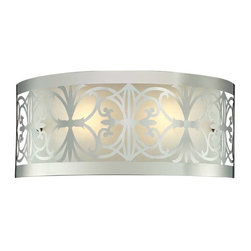 Elk Lighting - Elk Lighting 11431/2 Willow Bend Traditional Bathroom Light in Polished Chrome - Elk Lighting 11431/2 Willow Bend Traditional Bathroom Light in Polished Chrome. Laser cut stainless with frosted glass
