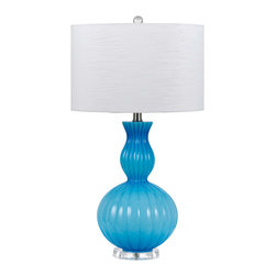 CAL Lighting - Cal Lighting BO-2436TB-BL 150W 3 Way Hand Blown Glass Table Lamp - CAL Lighting BO-2436TB-BL 150W 3 Way Hand blown glass table lamp with crystal base