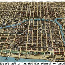 Chicago Business District Birds-eye View - 1898 Wall Map Mural - Peel and Stick - This antique reproduction map provides a stunning birds-eye view of the Chicago downtown business district as it was in 1898.  Take a trip to into Chicago's past as you examine the maps detailed  illustrations of every building, street, and bridge from this time period. The  map was published by the Poole Brothers of Chicago Illinois in 1898 and was  originally printed on four sheets. Map is oriented with north to the right and  depicts a perspective from Lake Michigan looking west.