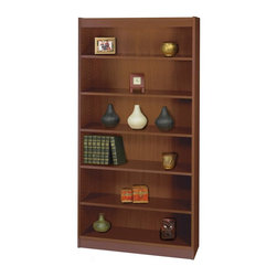 Safco - Square Edge Bookcase w 6 Shelves in Walnut Finish - Classic with clean lines and a simple design, this square edge bookcase will be a timeless choice for any home's decor. Great for home or office use, the bookcase is made of particle board and wood veneer in walnut finish and features six shelves, five of them adjustable. Accommodates storage and display needs. 0.75 in. material thickness. 1.25 in. adjustable shelf. Shelf capacity 100 lbs.. Made from particle board and wood veneer. 36 in. W x 12 in. D x 72 in. H (102 lbs.). Assembly InstructionClean traditional design accents any workspace with Square-Edge Bookcases. Exquisitely showcase photographs, keepsakes, literature and resources. Make it functional or fun for your executive office, conference room, meeting areas, reception areas, waiting room, library, media center, sales offices and even your home office. These beautifully designed bookcases add the little extra that your workspace needs.
