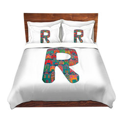 DiaNoche Designs - Duvet Cover Microfiber King from DiaNoche Designs by Dora Ficher - Letter R - DiaNoche Designs works with artists from around the world to bring unique, artistic products to decorate all aspects of your home.  Super lightweight and extremely soft Premium Microfiber Duvet Cover (only) in sizes Twin, Queen, King.  Shams NOT included.  This duvet is designed to wash upon arrival for maximum softness.   Each duvet starts by looming the fabric and cutting to the size ordered.  The Image is printed and your Duvet Cover is meticulously sewn together with ties in each corner and a hidden zip closure.  All in the USA!!  Poly microfiber top and underside.  Dye Sublimation printing permanently adheres the ink to the material for long life and durability.  Machine Washable cold with light detergent and dry on low.  Product may vary slightly from image.  Shams not included.