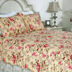 None - Lelia Pink Rose Cottage Cotton 3-piece Quilt Set - This classic romantic pink rose floral print on a butter cream background in all cotton makes for a classic quilt ensemble. This quilt is pre-washed and pre-shrunk.