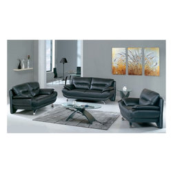 American Eagle Furniture - 7068 Black Bonded Leather Three Piece Sofa Set - The 7068 sofa set has a stylish modern design that will be a great addition to any living room decor. This sofa set comes upholstered in a stunning black bonded leather on the front where your body touches. Carefully chosen match material is used on the back and sides where contact is minimal. High density foam is placed within each piece for added comfort. Each piece features a extended back design where the back reaches to the ground floor and acts as the rear legs. The sofa set shown includes a sofa, loveseat, and chair only. The coffee table shown is NOT included.